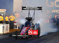 Jul. 25, 2014; Sonoma, CA, USA; NHRA top fuel driver Spencer Massey during qualifying for the Sonoma Nationals at Sonoma Raceway. Mandatory Credit: Mark J. Rebilas-