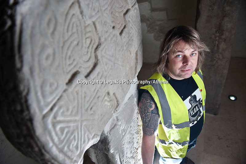 Thursday 28 November 2013<br /> Pictured:Builder Lee Mayes stands in front of the stones that inspired his tatoo. <br /> Re: Builder Lee Mayes