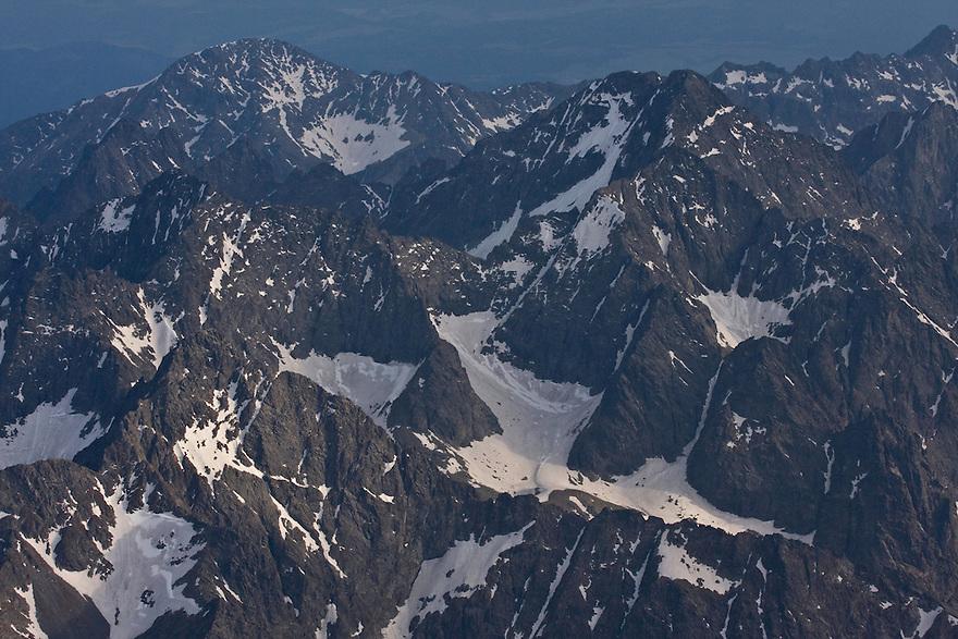 Aerial view of mountain peaks. High Tatras, Slovakia. June 2009. Mission: Ticha