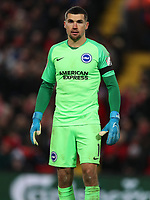 30th November 2019; Anfield, Liverpool, Merseyside, England; English Premier League Football, Liverpool versus Brighton and Hove Albion; Brighton and Hove Albion goalkeeper Matthew Ryan - Strictly Editorial Use Only. No use with unauthorized audio, video, data, fixture lists, club/league logos or 'live' services. Online in-match use limited to 120 images, no video emulation. No use in betting, games or single club/league/player publications