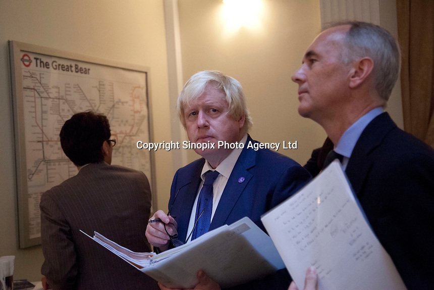 OCTOBER 15, 2015 -TOKYO, JAPAN: Mayor of London Boris Johnson MP and  British Ambassador,  Tim Hitchens (right) at an event at the British Embassy in Tokyo, to encourage collaboration between London and Japan in financial technology.  (Photo / Ko Sasaki - Sinopix)