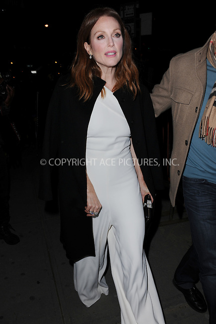 WWW.ACEPIXS.COM<br /> January 13, 2015 New York City<br /> <br /> Julianne Moore attending a screening of Sony Pictures Classics' 'Still Alice' at Landmark's Sunshine Cinema on January 13, 2015 in New York City.<br /> <br /> Please byline: Kristin Callahan/AcePictures<br /> <br /> ACEPIXS.COM<br /> <br /> Tel: (212) 243 8787 or (646) 769 0430<br /> e-mail: info@acepixs.com<br /> web: http://www.acepixs.com