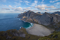 View over Bunes beach from Storskiva mountain peak, Moskenesøy, Lofoten Islands, Norway