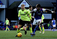Ipswich Town's Trevoh Chalobah battles with Sheffield United's Mark Duffy<br /> <br /> Photographer Hannah Fountain/CameraSport<br /> <br /> The EFL Sky Bet Championship - Ipswich Town v Sheffield United - Saturday 22nd December 2018 - Portman Road - Ipswich<br /> <br /> World Copyright © 2018 CameraSport. All rights reserved. 43 Linden Ave. Countesthorpe. Leicester. England. LE8 5PG - Tel: +44 (0) 116 277 4147 - admin@camerasport.com - www.camerasport.com