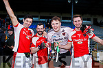 Aidan O'Mahony, Eoin Lawlor, Padraic McCarthy nand Brendan O'Keeffe Captain Rathmore celebrate with the O'Donoghue cup after defeating Legion in the East Kerry final on Sunday