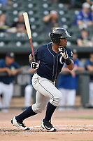 Designated hitter Steven Sensley (5) of the Charleston RiverDogs bats in a game against the Columbia Fireflies on Monday, August 7, 2017, at Spirit Communications Park in Columbia, South Carolina. Columbia won, 6-4. (Tom Priddy/Four Seam Images)