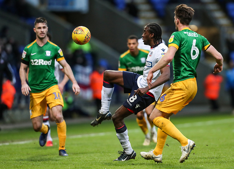 Bolton Wanderers' Clayton Donaldson competing with Preston North End's Ben Davies  <br /> <br /> Photographer Andrew Kearns/CameraSport<br /> <br /> The EFL Sky Bet Championship - Bolton Wanderers v Preston North End - Saturday 9th February 2019 - University of Bolton Stadium - Bolton<br /> <br /> World Copyright &copy; 2019 CameraSport. All rights reserved. 43 Linden Ave. Countesthorpe. Leicester. England. LE8 5PG - Tel: +44 (0) 116 277 4147 - admin@camerasport.com - www.camerasport.com
