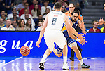 Real Madrid's Maciulis and UCAM Murcia's Facundo Campazzo during the first match of the playoff at Barclaycard Center in Madrid. May 27, 2016. (ALTERPHOTOS/BorjaB.Hojas)