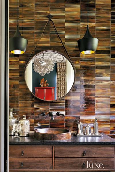 "2"" x 8"" jewel glass bricks in Tortoise Shell. <br /> <br /> Photo via luxesource.com"