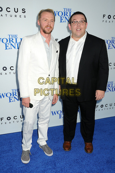 Simon Pegg, Nick Frost<br /> 'The World's End'Los Angeles Premiere held at the Cinerama Dome, Hollywood, California, USA.<br /> August 21st, 2013<br /> full length black white suit shirt glasses beard facial hair  <br /> CAP/ADM/BP<br /> &copy;Byron Purvis/AdMedia/Capital Pictures