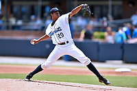 Asheville Tourists starting pitcher Erick Julio (29) delivers a pitch during a game against the Augusta GreenJackets at McCormick Field on July 16, 2017 in Asheville, North Carolina. The GreenJackets defeated the Tourists 10-9. (Tony Farlow/Four Seam Images)