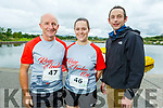 Tommy and Grace Kerins (Tralee) with Declan Falvey at the Tralee Harriers Rose of Tralee 10k in the Tralee Wetlands on Sunday.