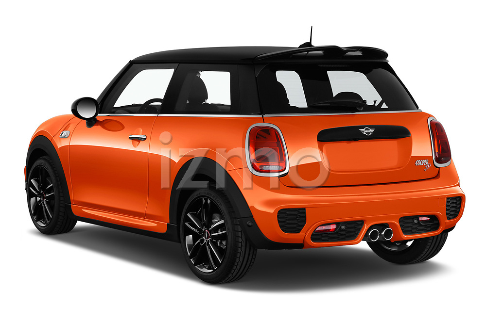 Car pictures of rear three quarter view of 2018 MINI Cooper JCW Door Hatchback Angular Rear