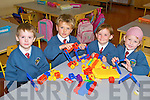 SCHOOLING FUN: Dean Shortt, Daniel Kirby, Jacinta Griffin and Isabelle Graham of Scoil Eoin, Balloonagh, Tralee enjoying their first few days at their new school on Friday.