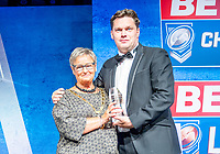 Picture by Allan McKenzie/SWpix.com - 25/09/2018 - Rugby League - Betfred Championship & League 1 Awards Dinner 2018 - The Principal Manchester- Manchester, England - Pat Crawshaw presents York City Knight's John Flatman with the Club Foundation of the Year award.