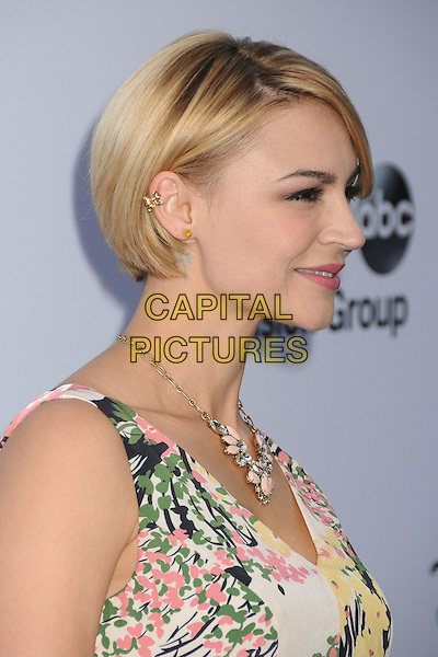 Samaire Armstrong.Disney Media Networks International Upfronts 2013 held at Walt Disney Studios, Burbank, California, USA..May 19th, 2013.headshot portrait white pink green floral print profile necklace earring .CAP/ADM/BP.©Byron Purvis/AdMedia/Capital Pictures
