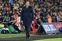 Swansea manager Paul Clement watches the game from the touch line during the Premier League match between Swansea City and West Bromwich Albion at The Liberty Stadium, Swansea, Wales, UK. Saturday 09 December 2017