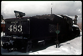 C&amp;TS #483 K-36 in snow in Chama yardwith coaling tower in background. Tender has &quot;Sunrise&quot; C&amp;TS herald.<br /> C&amp;TS  Chama, NM