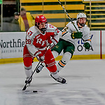 29 December 2018: Rensselaer Engineer Defenseman Kyle Hallbauer, a Freshman from Howell, NJ, in second period action against the University of Vermont Catamounts at Gutterson Fieldhouse in Burlington, Vermont. The Catamounts rallied from a 2-0 deficit to defeat RPI 4-2 and win the annual Catamount Cup Tournament. Mandatory Credit: Ed Wolfstein Photo *** RAW (NEF) Image File Available ***