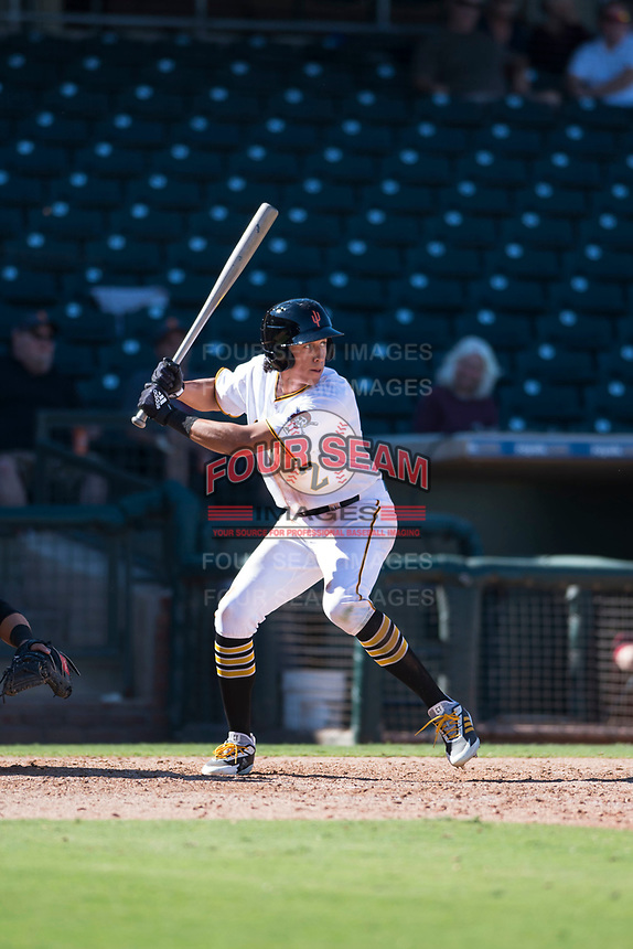 Surprise Saguaros shortstop Cole Tucker (2), of the Pittsburgh Pirates organization, at bat during an Arizona Fall League game against the Salt River Rafters on October 9, 2018 at Surprise Stadium in Surprise, Arizona. Salt River defeated Surprise 10-8. (Zachary Lucy/Four Seam Images)
