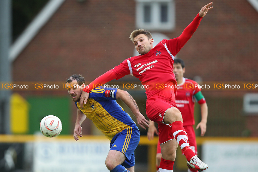 Nick Reynolds in aerial action for Romford - Romford vs Needham Market - Ryman League Division One North Football at Ship Lane, Thurrock FC - 04/10/14 - MANDATORY CREDIT: Gavin Ellis/TGSPHOTO - Self billing applies where appropriate - contact@tgsphoto.co.uk - NO UNPAID USE
