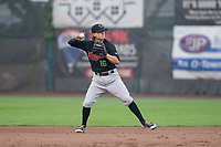 Great Falls Voyagers shortstop Travis Moniot (16) throws to first base during a Pioneer League against the Ogden Raptors at Lindquist Field on August 23, 2018 in Ogden, Utah. The Ogden Raptors defeated the Great Falls Voyagers by a score of 8-7. (Zachary Lucy/Four Seam Images)