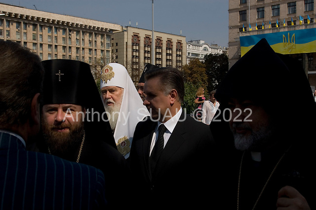 Kiev, Ukraine.August 24, 2005 ..Priests from all regions of Ukraine arrive at the Maidan Square to celebrate Independence Day in Kiev, Ukraine. President Yushchinko arrives later for the event..
