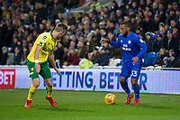 Junior Hoilett of Cardiff City takes on James Maddison of Norwich City during the Sky Bet Championship match between Cardiff City and Norwich City at the Cardiff City Stadium, Cardiff, Wales on 1 December 2017. Photo by Mark  Hawkins / PRiME Media Images.