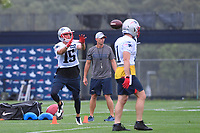 July 26, 2018: New England Patriots wide receiver Chris Hogan (15) makes a catch at the New England Patriots training camp held on the practice fields at Gillette Stadium, in Foxborough, Massachusetts. Eric Canha/CSM