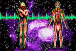 metaphoric composite photo illustration panorama with icons of health including female figures EKG and deep space imagery