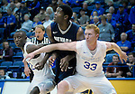 February 15, 2017:  Air Force center, Frank Toohey #33,  and Pervis Louder #22, control the rebound lane during the NCAA basketball game between the University of Nevada Wolfpack and the Air Force Academy Falcons, Clune Arena, U.S. Air Force Academy, Colorado Springs, Colorado.  Nevada defeats Air Force 78-59.