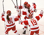 Mary Parker (BU - 15), Maddie Elia (BU - 14), Victoria Bach (BU - 12), Rebecca Leslie (BU - 19) - The Boston College Eagles defeated the Boston University Terriers 3-2 in the first round of the Beanpot on Monday, January 31, 2017, at Matthews Arena in Boston, Massachusetts.