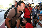 04 September 2008: Landon Donovan (USA) rushes past the media on his way into the hotel. The United States Men's National Team held a press conference at the Melia Cohiba Hotel in Havana, Cuba after arriving from the airport.