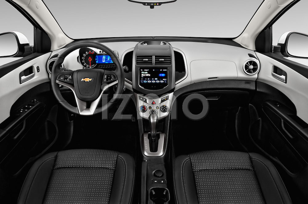 Stock photo of straight dashboard view of 2016 Chevrolet Sonic LTZ 4 Door Sedan Dashboard