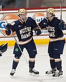 Felix Holmberg (Notre Dame - 12) , Jordan Gross (Notre Dame - 3) - The Boston College Eagles defeated the University of Notre Dame Fighting Irish 6-4 (EN) on Saturday, January 28, 2017, at Kelley Rink in Conte Forum in Chestnut Hill, Massachusetts.The Boston College Eagles defeated the University of Notre Dame Fighting Irish 6-4 (EN) on Saturday, January 28, 2017, at Kelley Rink in Conte Forum in Chestnut Hill, Massachusetts.