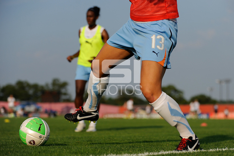 Yael Averbuch (13) of Sky Blue FC warms up prior to the game. The Philadelphia Independence defeated Sky Blue FC 4-1 during a Women's Professional Soccer (WPS) match at Yurcak Field in Piscataway, NJ, on June 19, 2010.