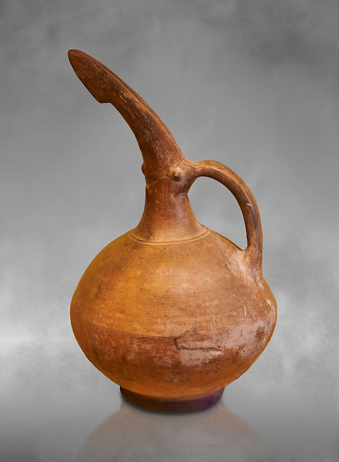 Bronze Age Beak Spout Pitcher in red terra cotta. 1900-1400 BC. Hierapolis Archaeology Museum, Turkey