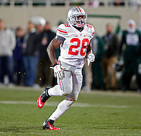 Ohio State Buckeyes running back Warren Ball (28) on kickoff coverage against Michigan State Spartans at Spartan Stadium in East Lansing, Michigan on November 8, 2014.  (Dispatch photo by Kyle Robertson)