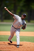 GCL Tigers West relief pitcher Miguel Paulino (36) delivers a pitch during a game against the GCL Tigers East on August 8, 2018 at Tigertown in Lakeland, Florida.  GCL Tigers East defeated GCL Tigers West 3-1.  (Mike Janes/Four Seam Images)