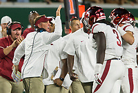 NWA Democrat-Gazette/BEN GOFF @NWABENGOFF<br /> Chad Morris, Arkansas head coach, congratulates McTelvin Agim, Arkansas defensive lineman, after he recovered a Colorado State fumble in the 3rd quarter Saturday, Sept. 8, 2018, at Canvas Stadium in Fort Collins, Colo.