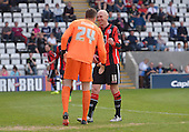 07/05/2016 Sky Bet League Two Morecambe v York City<br /> Kevin Ellison shares a joke with Michael Ingham