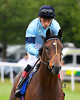 Strategic ridden by Shane Kelly goes down to the start during Ladies Evening Racing at Salisbury Racecourse on 15th July 2017