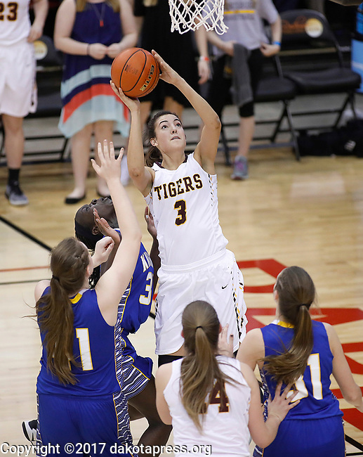 RAPID CITY, SD - MARCH 18, 2017 -- Sami Slaughter #3 of Harrisburg goes up for a shot against Sioux Falls O'Gorman during the 2017 South Dakota State Class AA Girls Basketball Championship game Saturday at Barnett Arena in Rapid City, S.D.  (Photo by Dick Carlson/Inertia)