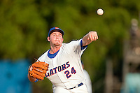 June 11, 2010:    Florida Pitcher Alex Panteliodis (24) pitches during game one of NCAA Gainesville Super Regional action between the University of Florida Gators and Miami Hurricanes at Alfred A. McKethan Stadium on the campus of University of Florida in Gainesville.  Panteliodis pitched a complete game and Florida defeated Miami 7-2 to take a 1-0 lead in the best of three series............
