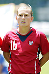 24 July 2005: U.S. forward Tiffeny Milbrett, pregame.  She is wearing the new Nike contact lenses designed to cut glare and make objects more easily visible. The United States defeated Iceland 3-0 at the Home Depot Center in Carson, California in a Women's International Friendly soccer match.