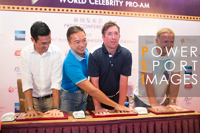 (L-R) Luis Garcia, Tenniel Chu, Robbie Fowler, David May during the Football Players Press Conference on the sidelines of the World Celebrity Pro-Am 2016 Mission Hills China Golf Tournament on 22 October 2016, in Haikou, China. Photo by Marcio Machado / Power Sport Images