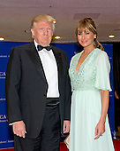 Donald and Melania Trump arrive for the 2015 White House Correspondents Association Annual Dinner at the Washington Hilton Hotel on Saturday, April 25, 2015.<br /> Credit: Ron Sachs / CNP
