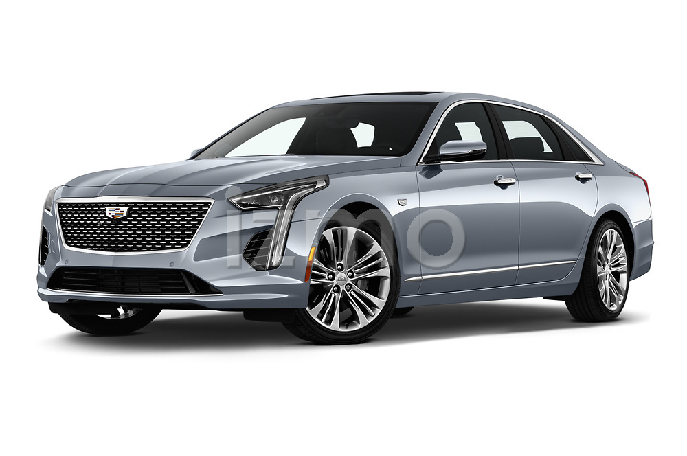 Stock pictures of low aggressive front three quarter view of 2019 Cadillac CT6 Platinum 4 Door Sedan Low Aggressive