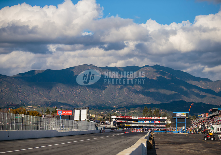 Feb 9, 2019; Pomona, CA, USA; Overall view of the track during NHRA qualifying for the Winternationals at Auto Club Raceway at Pomona. Mandatory Credit: Mark J. Rebilas-USA TODAY Sports
