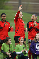 Piscataway, NJ, May 7, 2016.  Taylor Smith (11), Abby Dahlkemper (13), and Jaelene Hinkle (15) of the Western New York Flash during player introductions prior to their game with Sky Blue FC.  The Western New York Flash defeated Sky Blue FC, 2-1, in a National Women's Soccer League (NWSL) match at Yurcak Field.